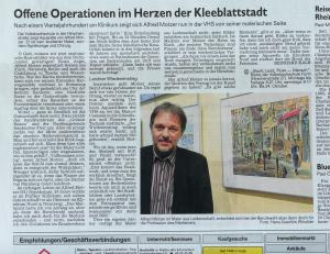 Newspaper artikel of Fuerther Nachrichten about my exhibition